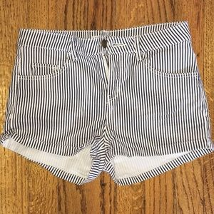 H&M size 2 navy and white striped shorts